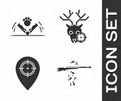 Set Gun Shooting, Trap Hunting, Hunt Place And Hunt On Deer With Crosshairs Icon. Vector poster