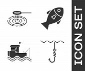 Set Fishing Hook Under Water, Fishing Net In Water, Fishing Boat With Fishing Rod On Water And Fish  poster