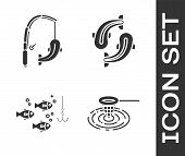 Set Fishing Net In Water, Fishing Rod And Fish, Fishing Hook Under Water With Fish And Fish Icon. Ve poster