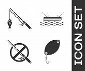Set Fishing Spoon, Fishing Rod And Fish, No Fishing And Fishing Boaton Water Icon. Vector poster