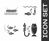 Set Fishing, Fishing Boat With Fishing Rod On Water, Fishing Hook Under Water With Fish Icon. Vector poster