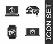 Set Laptop With Smart House And Light Bulb, Smart Watch With Smart Home With Wi-fi And Smart House A poster