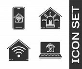 Set Laptop With Smart House And Light Bulb, Mobile Phone With Smart Home With Wi-fi, Smart Home With poster