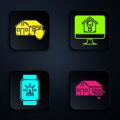 Set Smart Home With Wi-fi, House Under Protection, Smart Watch With Smart House And Alarm And Comput poster