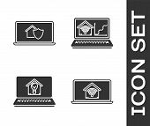 Set Laptop With Smart Home With Wi-fi, Laptop With House Under Protection, Laptop With Smart House A poster