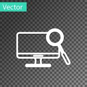 White Line Computer Monitor Diagnostics Icon Isolated On Transparent Background. Adjusting App, Serv poster