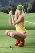 Sexy Golf Player Woman Folded Down