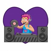 Dj With Album Dj Desk Mixing The Music Of The Dynamics Of The Heart. Vector Image. Cartoon. Eps 10 poster