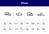 Shoes Line Icon Set. Set Of Line Icons On White Background. Cowboy Boot, Espadrille, High Heel Shoes poster