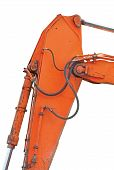 stock photo of dozer  - Old Generic Excavator Dipper And Boom Plus Bucket Ram Vertical Closeup Isolated Orange Yellow Details Backhoe Dozer Hydraulics Hoses Links Pistons Bolts - JPG