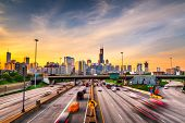 Chicago, IL, USA downtown cityscape highways at dawn. poster