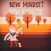 Conceptual Hand Writing Showing New Mindset New Results. Business Photo Text Open To Opportunities N poster