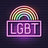 Neon Gay Pride Lettering On A Brick Rainbow Spectrum Flag, An Emblem Of Homosexuality. Concept Of Lg poster