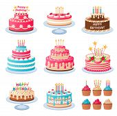 Cartoon Cakes. Colorful Delicious Desserts, Birthday Cake With Celebration Candles And Chocolate Sli poster