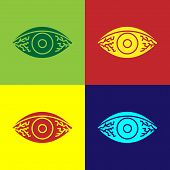 Color Reddish Eye Due To Viral, Bacterial Or Allergic Conjunctivitis Icon Isolated On Color Backgrou poster