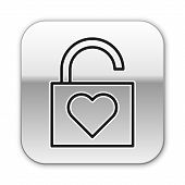 Black Line Lock And Heart Icon Isolated On White Background. Locked Heart. Love Symbol And Keyhole S poster