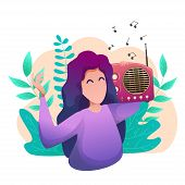 Banner World Flat Day Radio. A Young Woman Listens To The Radio In Nature. poster