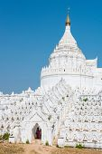 Beautiful white Hsinbyume Pagoda in Mingun, Western bank of Irrawaddy river, Myanmar poster