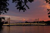 Albert Bridge, London,uk. View Of Albert Bridge In The Evening Sunset With Lights On The Bridge Bein poster