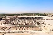 Aerial view on ruins of Palace of 100 columns, Gate of All Nations (Xerxes Gate) in Persepolis, Iran poster