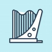 Blue Line Harp Icon Isolated On Blue Background. Classical Music Instrument, Orhestra String Acousti poster