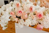 Luxury Ornamental Bunch Of Flowers On Wooden Table Closeup Photography. Beautiful And Aromatic Flowe poster