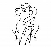 Cute Fabulous Horse With Outlined For Coloring Book Isolated On A White Background. Vector Illustrat poster