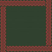 Norwegian Traditional Ornament. Square Frame With Geometric Ornament. Knitting Pattern. Vector. poster