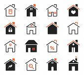 House Icons. Exterior Home Images. Flat Outlined Houses, Real Estate Property Symbols. Thin Line Sty poster