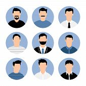 Blue Men Avatars. People Profiles Illustrated Avatar Set, Vector Business Profile Types Portraits, M poster