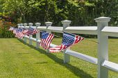 White picket fence with US flags