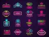 Casino Neon Badges. Poker Club Game Logo Colored Lighting Vegas Style Vector Set. Casino Club Poker, poster
