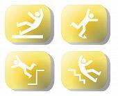 stock photo of slip hazard  - Caution falling hazards on yellow buttons illustration - JPG