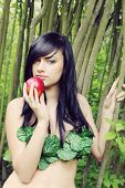 picture of adam eve  - beautiful woman with an apple in the image of Eve - JPG