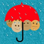 foto of safe haven  - people crowded under an umbrella in the rain illustration - JPG