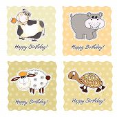 Birthday Card Set With Animals