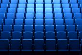 foto of cinema auditorium  - Empty blue cinema auditorium with soft light - JPG