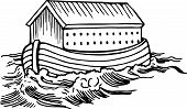 image of noah  - Simple black and white line drawing of Noahs ark boat floating on the water - JPG