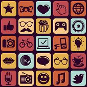 picture of funky  - Vector seamless pattern with trendy hipster icons and pictograms - JPG