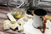 stock photo of flour sifter  - A view of the process of baking pastries - JPG