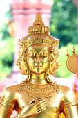 stock photo of brahma  - Focus Face Gold statue of Brahma statues of hindu god - JPG