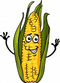 Funny Corn On The Cob Cartoon Illustration