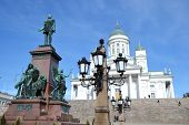 pic of senators  - Statue of Russian czar Alexander II against the Cathedral - JPG