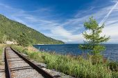 picture of trans  - the old Trans Siberian railway on the shores of lake Baikal  - JPG