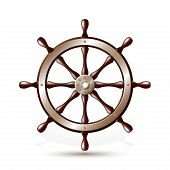 image of ship steering wheel  - Steering wheel for ship isolated on white background - JPG