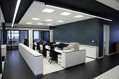 picture of urbanization  - Black and white modern interior design of an office - JPG