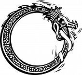 picture of thor  - Woodcut style image of the viking Norse midgard serpent - JPG