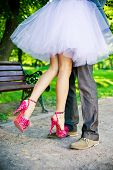 stock photo of white gown  - Legs of the groom and the bride - JPG