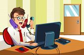 image of annoyance  - A vector illustration of a busy businessman talking on many phones at the same time - JPG