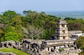 foto of mayan  - A view of the palace at the ancient Mayan city of Palenque - JPG